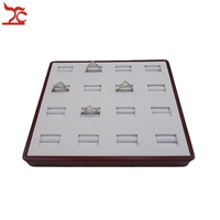 FREE SHIPPING Wooden Jewellery Display Tray Fine Jewelry Packaging 16 Slots Ring Display box White PU Storage Case