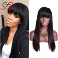 Brazilian Virgin Hair Straight Lace Front Human Hair Wigs With Bangs Full Lace Human Hair Wigs for Black Women Lace Front Wig