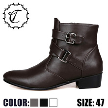 CatriCa 2019 Black Brown White Large Size Leather Chelsea Designer High Top Quality Men Shoes Winter Fashion Luxury Boots 512-1