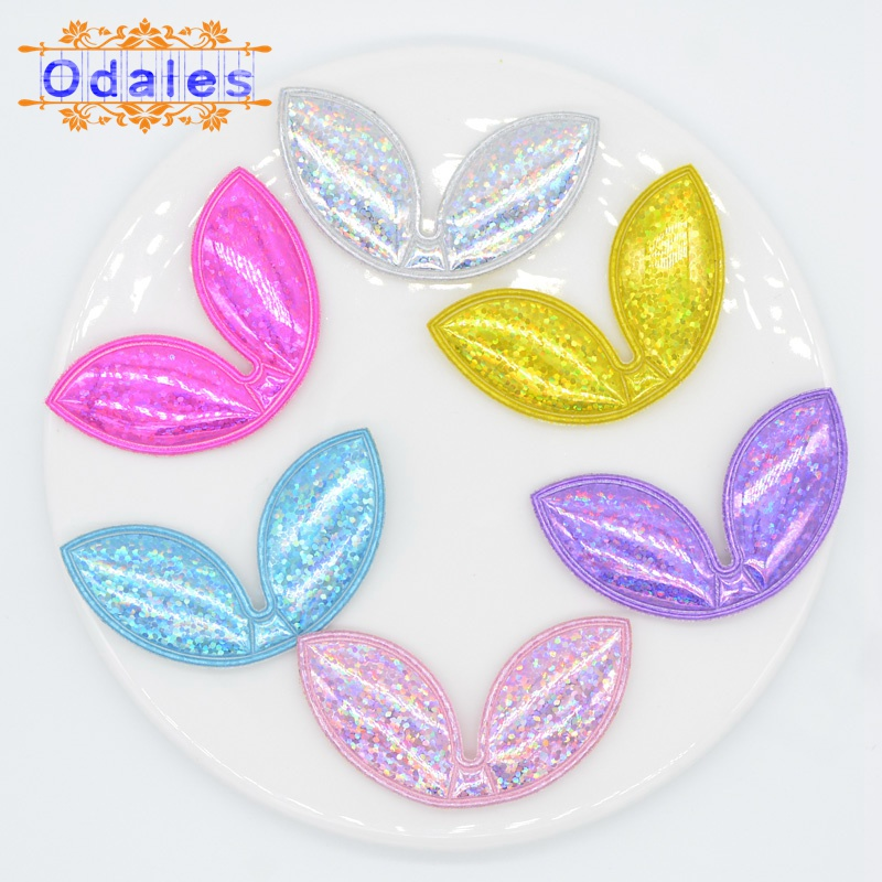 30Pcs Padded Rabbit Ear for Baby Girls Hairbow Appliques Glitter Rabbit Ear Patches Headwear Decoration Handmade Hair Accessory