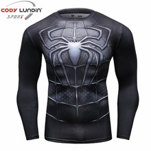 Newest 2017 Fashion Men T-Shirt Marvel Superhero Spiderman T Shirt Men Fitness tee Compression Shirt Tights(China)