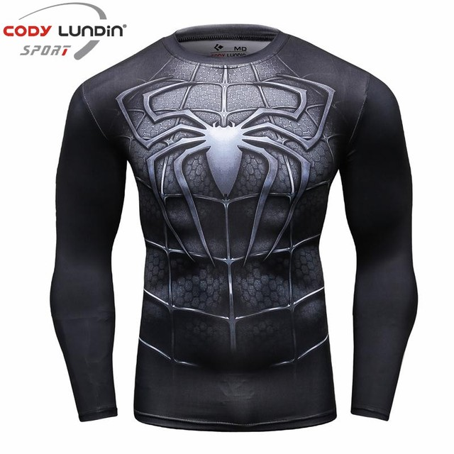 Newest 2017 Fashion Men T-Shirt Marvel Superhero Spiderman T Shirt  Men Fitness tee Compression Shirt Tights