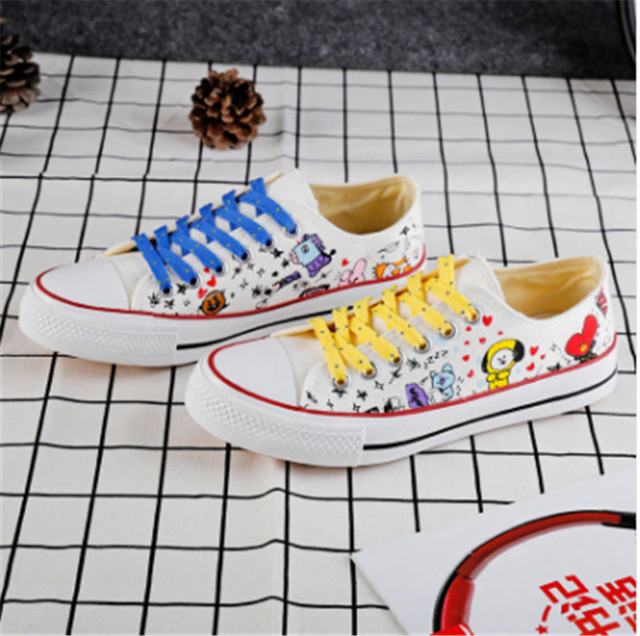 c4562bda9338 KPOP BTS BT21 Line Friends Low Tops Shoes Canvas Boots Sneakers JUNG KOOK  COOKY JIMIN JIMMY TATA Suga Mang Women Casual Trainer