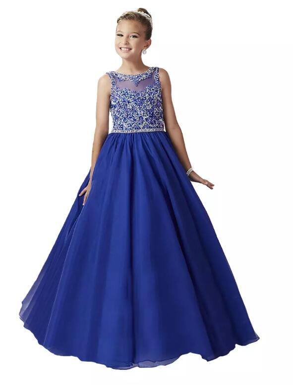 Royal Blue Luxury Beads Little Girls Pageant Dresses 2017 New Christmas Princess Beads Kids Birthday Party Ball Gown