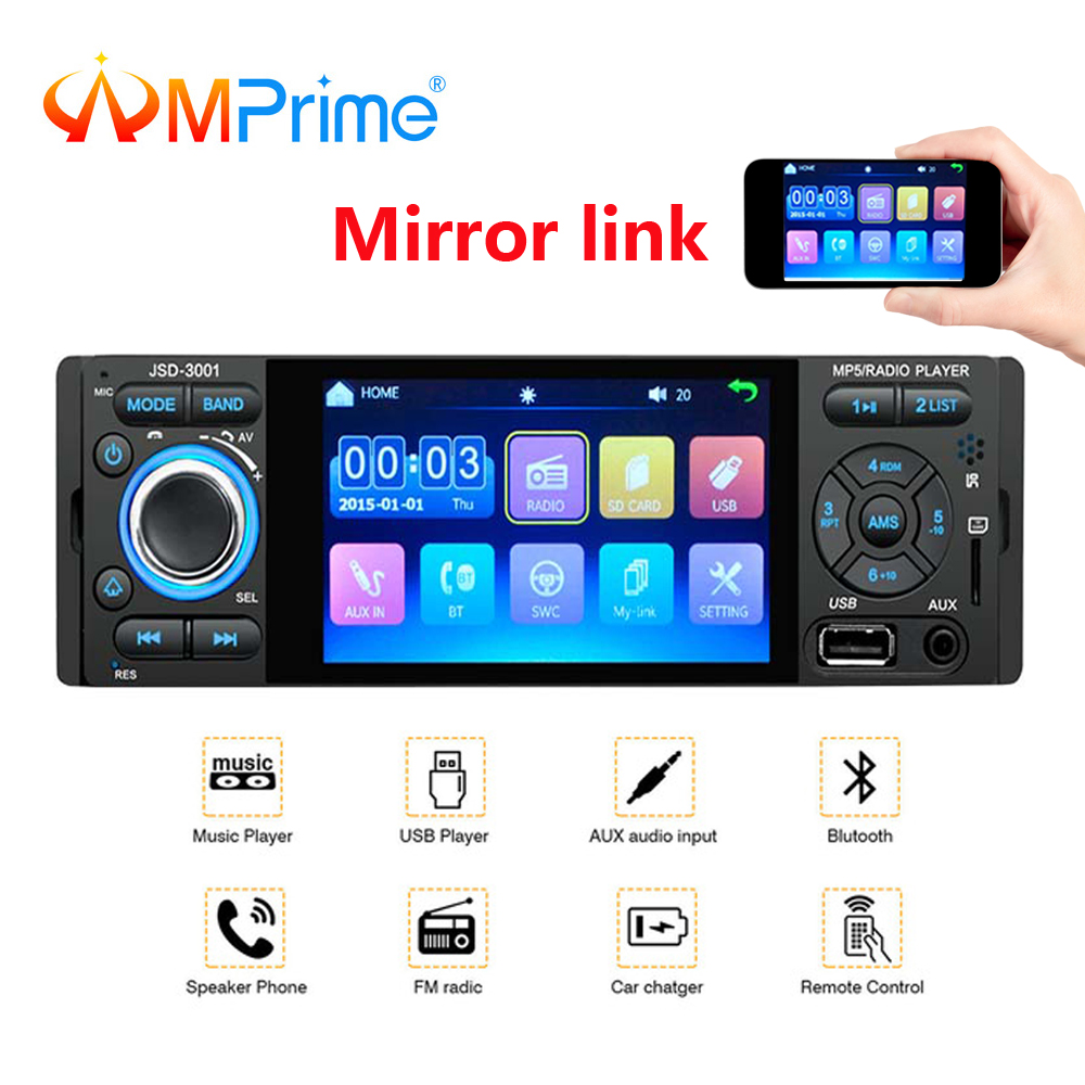 Amprime Aux-Player Audio-Mirror-Link Autoradio Rear-View-Camera Car-Stereo Bluetooth