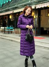 Black grey purple hooded long down coat womens slim female white duck down jacket women over-the-knee winter coat plus size 3XL