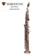 MARGEWATE Gerade Bb Sopransaxophon Sax Rot Bronze Bläser Instrument mit Fall Handschuhe Reinigungstuch Strap Fett Pinsel