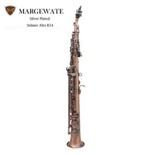MARGEWATE Straight Bb Soprano Saxophone Sax Red Bronze Woodwind Instrument with Case Gloves Cleaning Cloth Strap Grease Brush