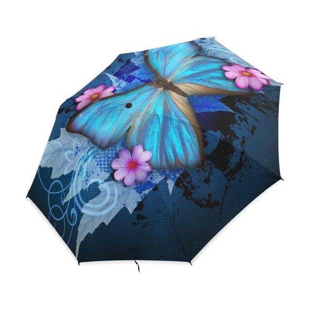 New Fashion Butterfly Over Flowers Print Women's Automatic Umbrella 3 Folding Rain Sun Protection Umbrella Male Portable Parasol 2