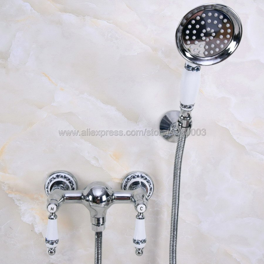 Polished Chrome Bath Faucets Wall Mounted Bathroom Basin Mixer Tap Crane With Hand Shower Head Bath & Shower Faucet Kna286Polished Chrome Bath Faucets Wall Mounted Bathroom Basin Mixer Tap Crane With Hand Shower Head Bath & Shower Faucet Kna286