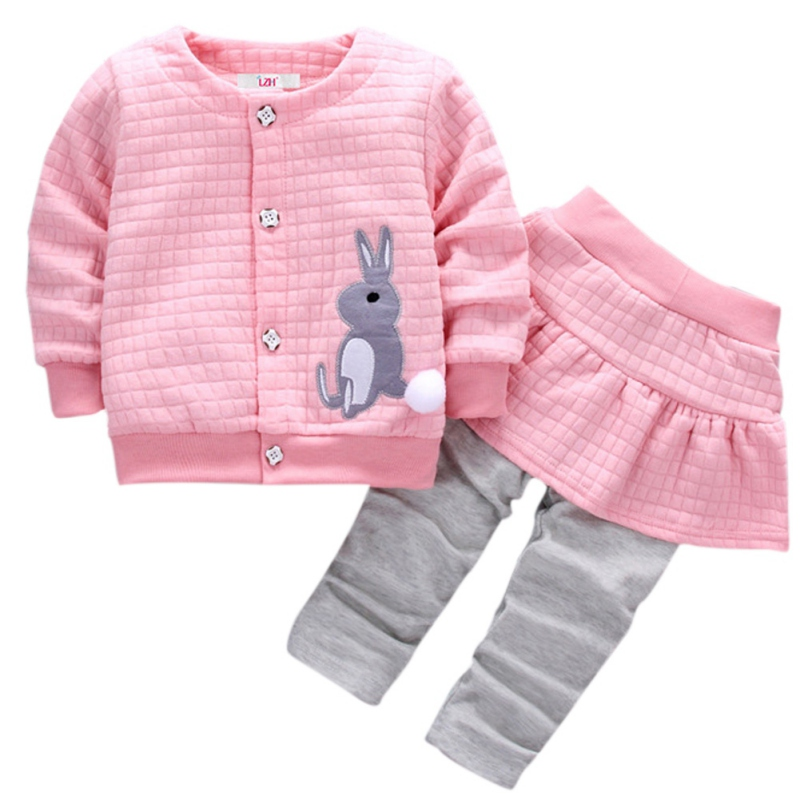 2018 0-3T Newborn Girls Clothes Autumn Winter Baby Girls Set Rabbit Coat+Pants 2pcs Set Baby Outfits Suit Infant M1 newborn infant baby girl little sister romper pants headband outfits set clothes children infant girls sister clothing set 2pcs