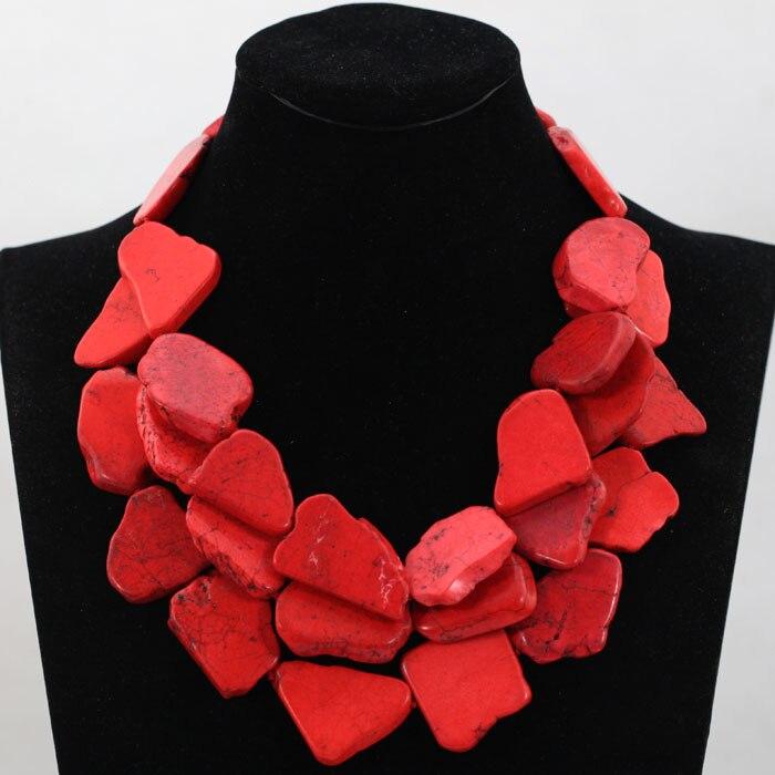 Charme Rouge Pierre Chunky Collier Naturel Feuilles Perlé Collier De Mode Africaine pour le Mariage Livraison Gratuite TN144