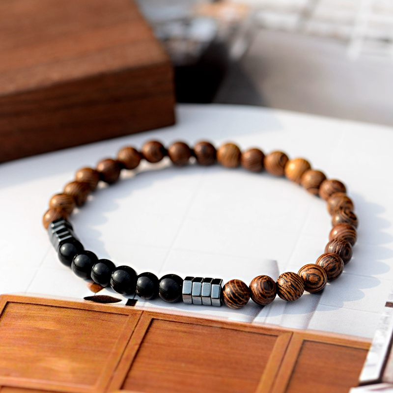 Image 5 - 2019 Classic Women 6MM Natural Wood Beads Bracelet Men Ethnic  Hematite Lava Stone Bracelet Homme Prayer Jewelry Yoga BraceletStrand  Bracelets