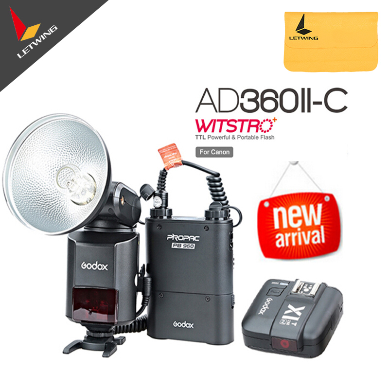 Godox AD-360 MARK II AD360II-C E-TTL Portable Flash + PB960 Lithium Power Pack Black + X1C TTL Trigger For Canon nissin di600 фотовспышка для canon e ttl e ttl ii