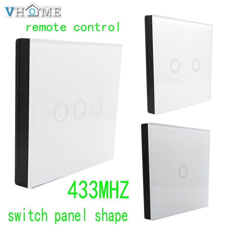 Control remoto del panel de cristal inalámbrico Vhome RF 433 Mhz, control de forma del interruptor para interruptores táctiles, puertas de garaje, cortinas eléctricas
