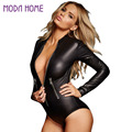 Black PU Leather Bodysuit Women Jumpsuit 2016 Long Sleeve Zip Detail Rompers Womens Jumpsuits Playsuit Sexy Overalls for Women