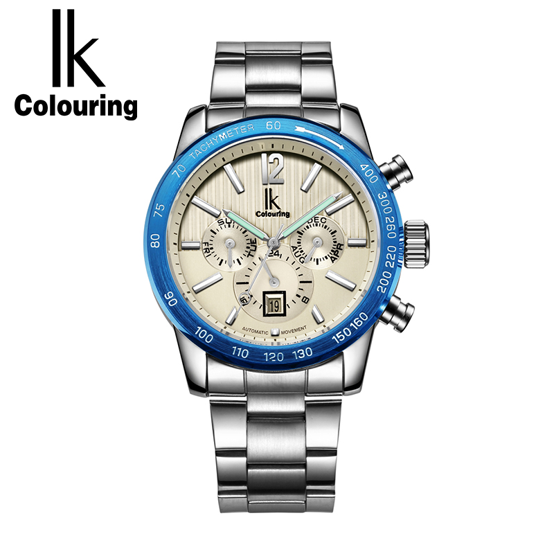 IK Colouring Luxury Mechanical Watches Men Luminous Full Steel Business Automatic Watch Male Timepieces Relojes Hombre 2017 yelang v1015 upgrade version khaki number tritium gas yellow luminous men automatic mechanical business watch steel watchband