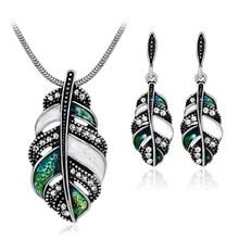 Bohemian Leaf Shape Rhinestone Women Jewelry Sets Silver Gold Color Pendant Necklace Drop Earrings Charm Dubai Wedding Jewellery