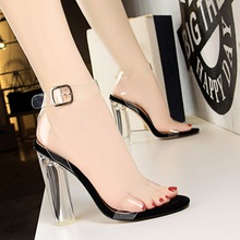 Women gladiator sandals ladies pumps thick high heels shoes woman Crystal Clear Transparent ankle strap party wedding shoes недорго, оригинальная цена