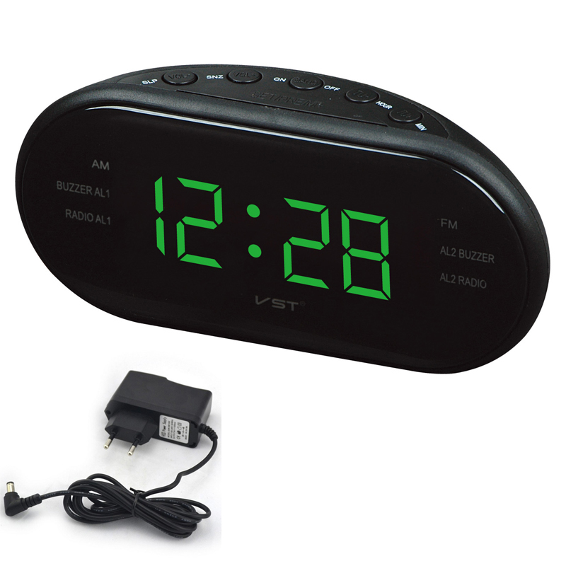 sunlynn large display digital snooze alarm clock vintage satellite fm am radio reveil table. Black Bedroom Furniture Sets. Home Design Ideas