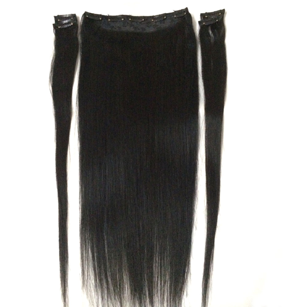 """ZZHAIR 100g-200g 16 """"-28"""" Maskin Remy Hair 5 st Set 9 Clips-in 100% Mänskliga Hårförlängningar Naturligt Rak Hår"""