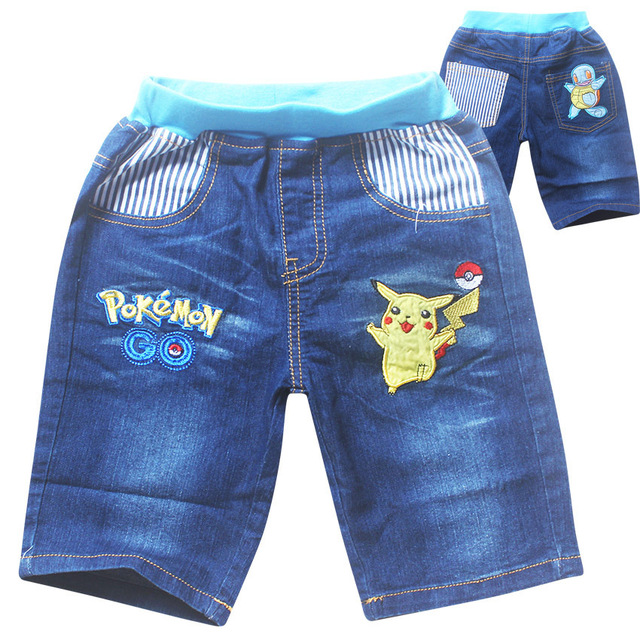 2018 New children's cartoon jeans pokemon go Pure cotton casual shorts for boys and girls pikachu Casual Cowboy SHORTS for
