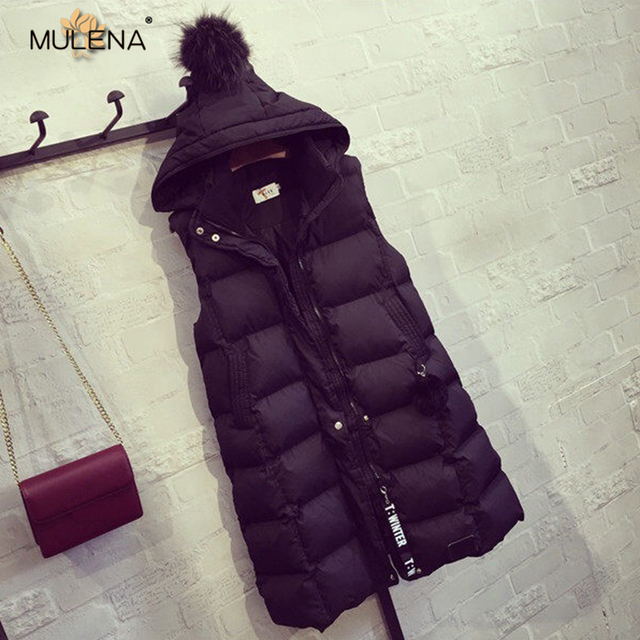 Mulena long wide-waisted sleeveless hooded down coats women solid warm Zipper&Single Breasted pockets office work lady outerwear