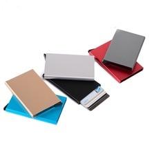 купить Business Aluminum Alloy Automatic Pop-up Metal Card Case RFID Anti-magnetic Business Credit Card Package Bank Card holder недорого