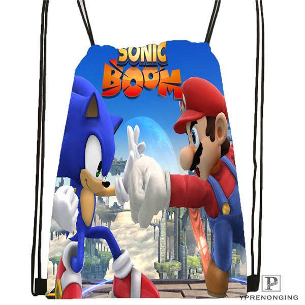 Custom Sonic-The-Hedgehog-  Drawstring Backpack Bag Cute Daypack Kids Satchel (Black Back) 31x40cm#2018611-2(14)