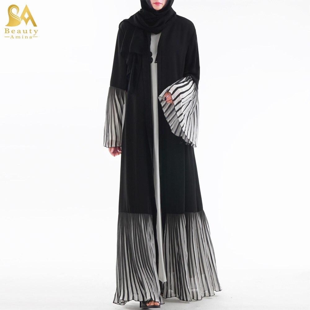 Luxury Striped Ruffules Abaya Muslim Maxi Dress Flare Sleeve Cardigan Long Robe Gowns Jubah Kimono Ramadan Arab Islamic Prayer