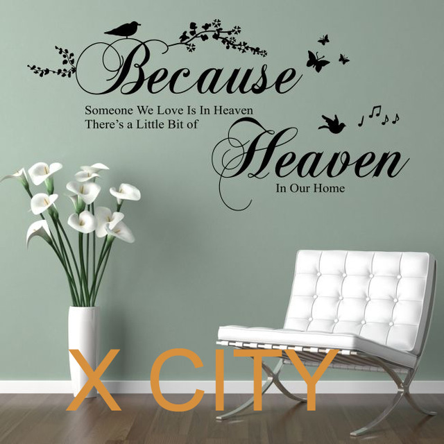 Beautiful BECAUSE SOMEONE WE LOVE IS IN HEAVEN Bedroom Quote Vinyl Wall Decal Art Decor  Sticker Window