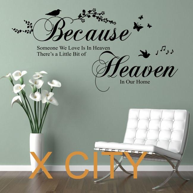 Because Someone We Love Is In Heaven Bedroom Quote Vinyl Wall Decal Art Decor Sticker Window Door Stencil Mural S M L