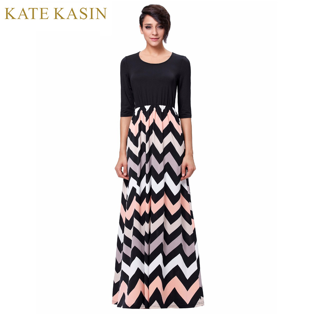 d45f51905897 Kate Kasin 2017 New Women Summer Dress Elegant Ladies Vintage Wave Stripe  Sleeveless Long Beach Maxi Dress Sundress Vestidos