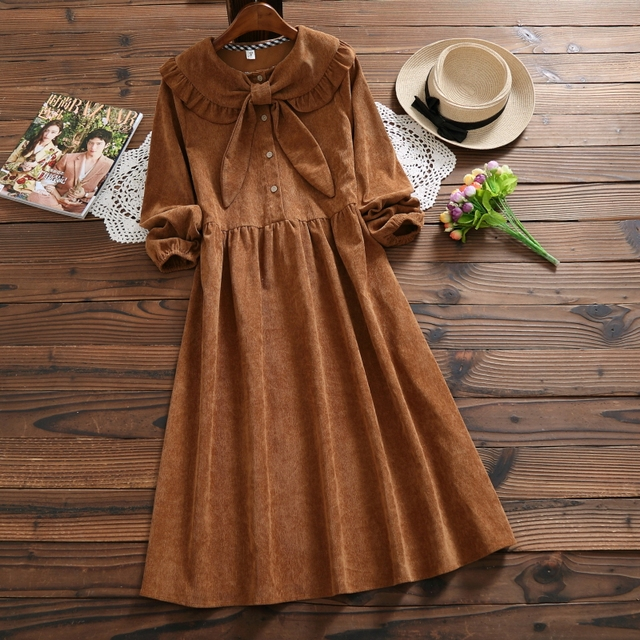 Mori Girl Vintage Dress 2018 New Autumn Winter Women Long Sleeve Butterfly Neck Long Loose Corduroy Dresses Japan Clothing