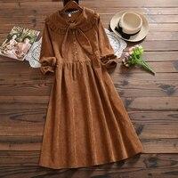 Mori Girl Vintage Dress 2018 New Autumn Winter Women Long Sleeve Butterfly Neck Long Loose Corduroy Dresses Japan Clothing