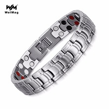 WelMag Fashion Magnetic Bracelet Bangles Stainless Steel Jewelry Wristband Double Health Care Elements(Magnetic,FIR,Germanium) stainless steel hologram bracelet germanium balance energy care magnetic power health bracelets bangles