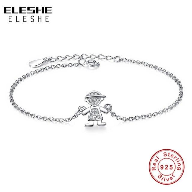 Eleshe 925 Sterling Silver Chain Bracelet Bangle Cute Lovely Children Boy Charm For Women