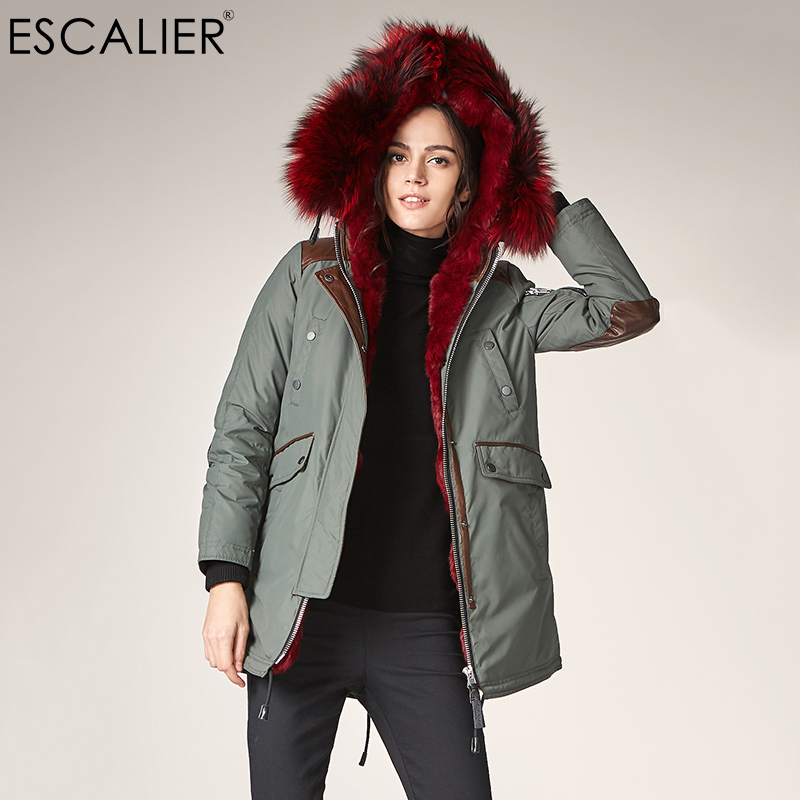 Escalier Women Waterproof   Down     Coats   2018 Winter Warm casual Fox Fur Collar Hooded   Coat   Female Cuff Spliced   Down     Coat