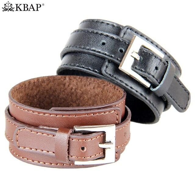 5fc7265dc00b9 KBAP Mens Wide Leather Wristband Cuff Bangle Bracelet 2017 New ...