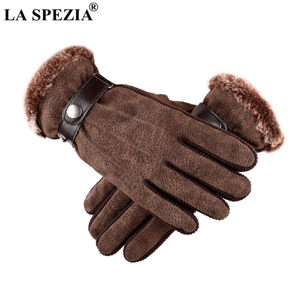 LA SPEZIA Pigskin Gloves Men Genuine Leather Winter With Fur Thermal Male Touch Screen Antiskid Bicycle Waterproof