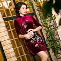 Spring Women Chinese Traditional Dress Female Velvet Short Cheongsam Embroidery Evening Party Dress Chinese Qipao Dress 18