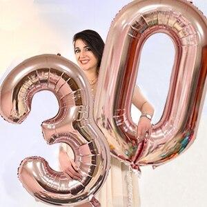 Image 3 - Chicinlife Globo de papel de aluminio rosa dorado, número de cumpleaños 30, caja de palomitas de paja para adulto, suministros para fiesta de cumpleaños y Aniversario