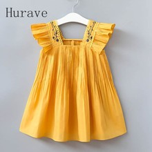 Hurave 2017 New Girls Draped Dress Kids Clothes  Floral Embroidery Children Vestidos Cute Girl Clothing