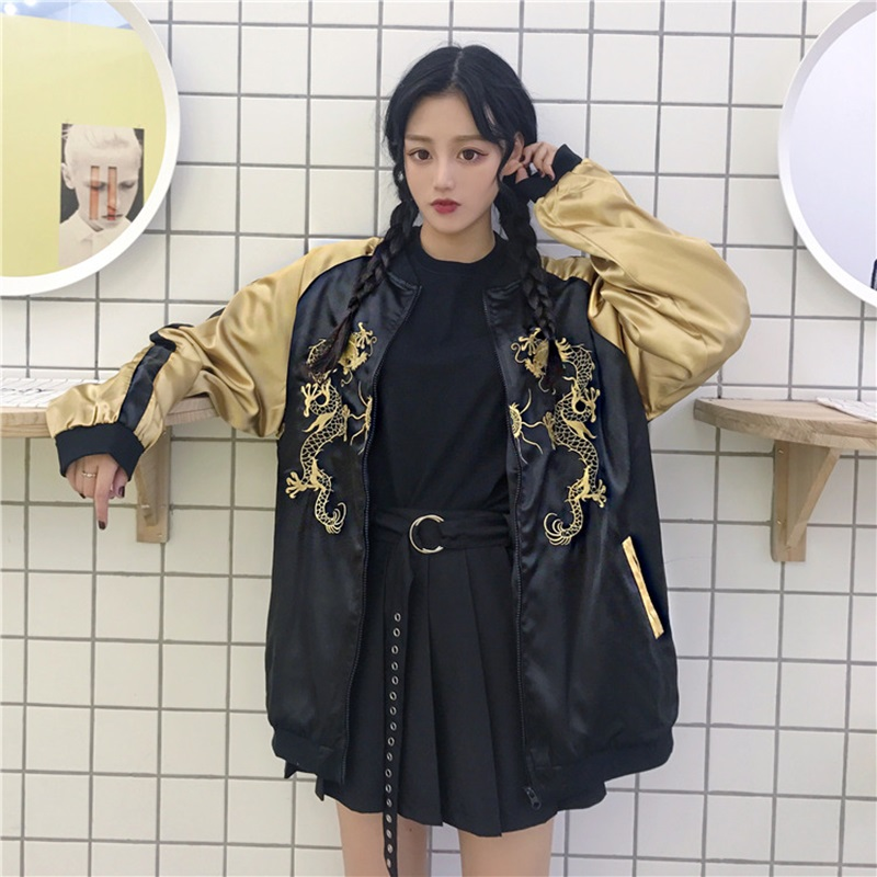 Women Bomber Jackets Harajuku Japanese Style Streetwear Clothing Bombers Women Dragon Embroidered Japan Bomber Jacket DD1710 S