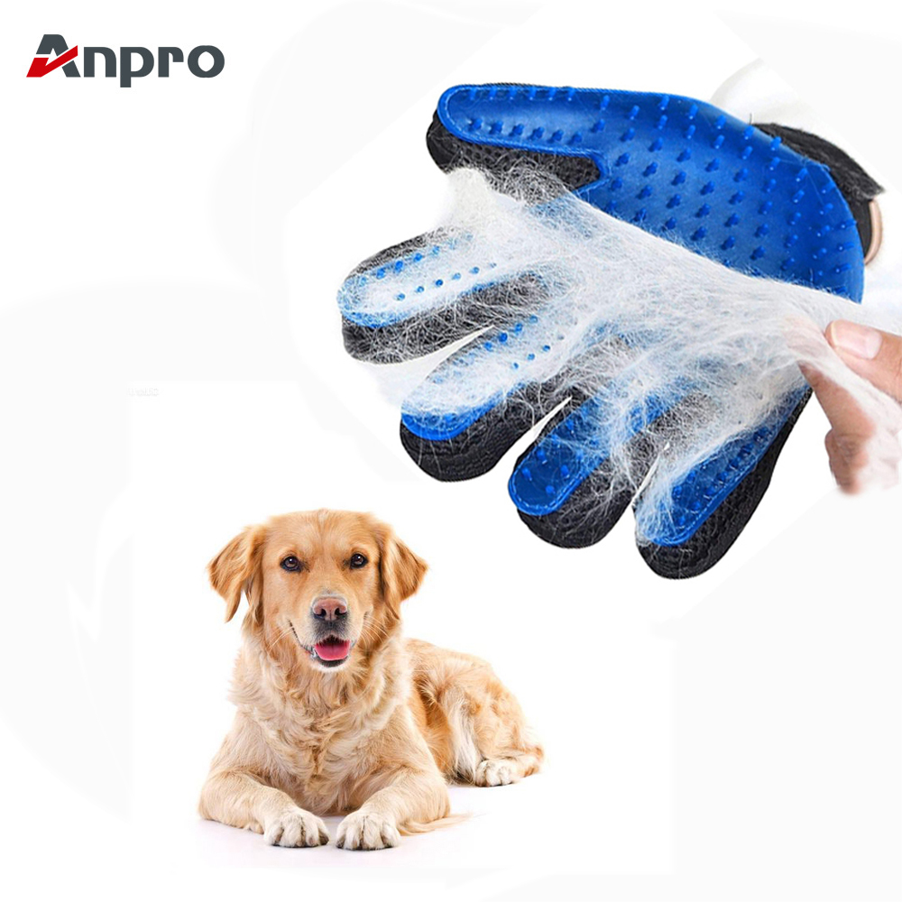 Anpro 1pc Dog Hair Remove Gloves Pet Cleaning Deshedding Effective Massage Dog Cat Grooming Glove Left Right Hand Dog Combs
