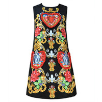 New high end 2019 spring and summer European station women's clothing heavy duty ball love printing vest vest dress