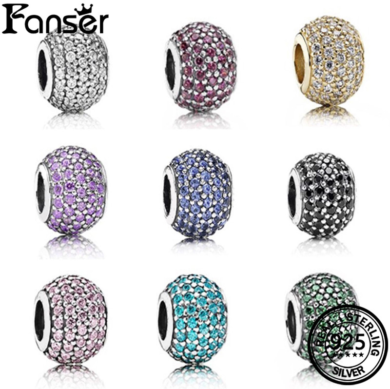 FANSER DIY Bead PANDOR Series Spinel Charm Beads S925 Pure Silver Original Copy Has Logo & Heart Shape Women Jewelry