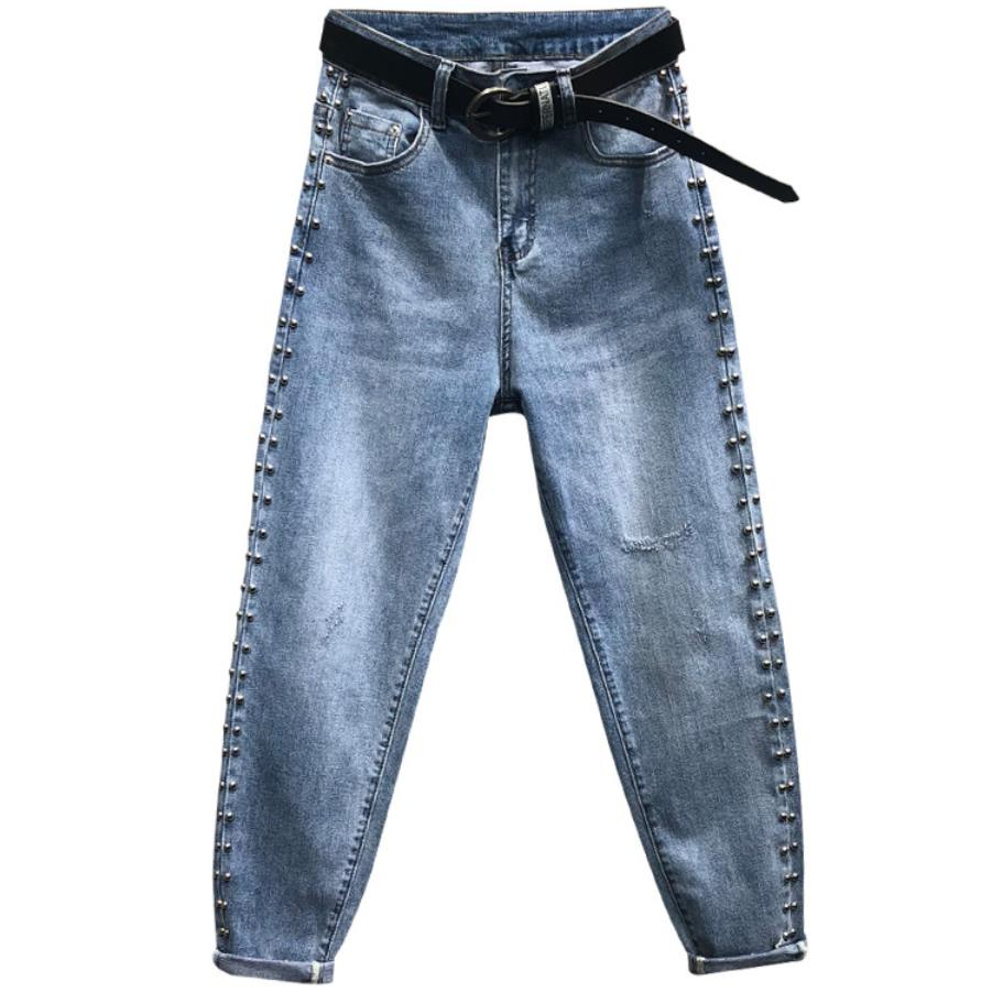 2020 Spring Summer New Fashion Loose Elastic Harem Pants Women High Waist Side Beaded Jeans Plus Size 26-31