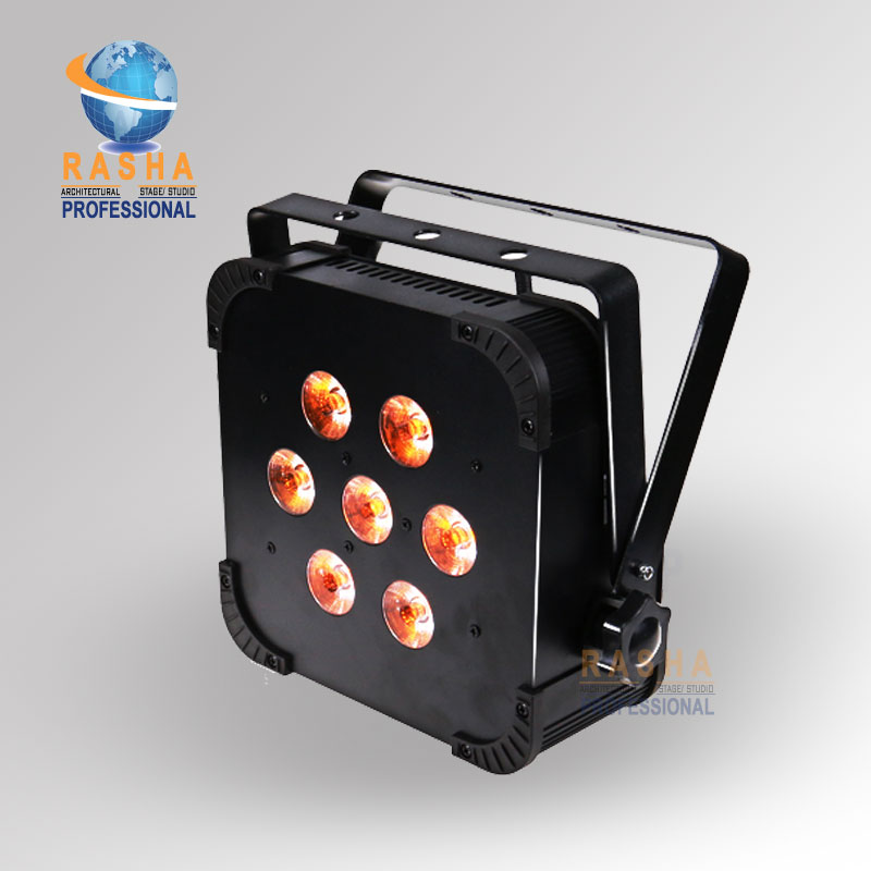 Hot Sale Rasha Quad 7*10W RGBA/RGBW 4in1 Wireless LED Flat Par Profile,LED Flat Par Can,Disco DMX512 Stage Light