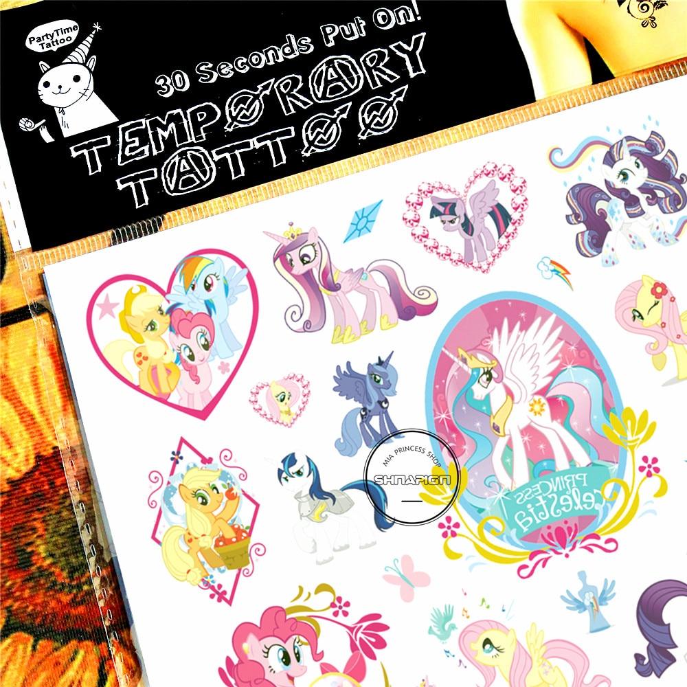 SHNAPIGN Little Pony Celestia Child Temporal Tattoo Body Art Flash - Tatuering och kroppskonst - Foto 3